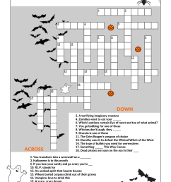 Halloween Crossword Puzzle Worksheet   Printable Worksheets and Activities  for Teachers [ 2339 x 1654 Pixel ]