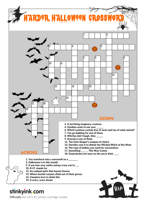 small resolution of Halloween Crossword Puzzle Worksheet   Printable Worksheets and Activities  for Teachers