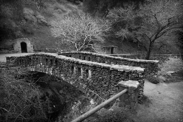 Rustic stone work gives character to one of several bridges over Penitencia Creek