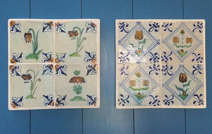 Tegeltableau's met de Kievitsbloem, Turkse lelie, Keizerskroon en tulp. 17e eeuw.