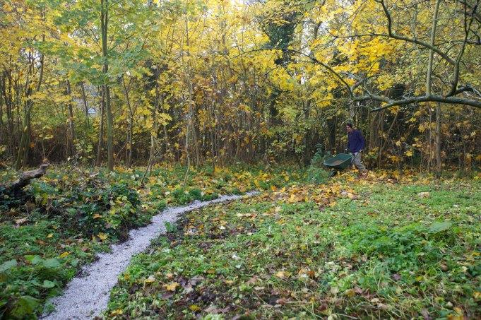 Pad tussen boomgaard en moestuin