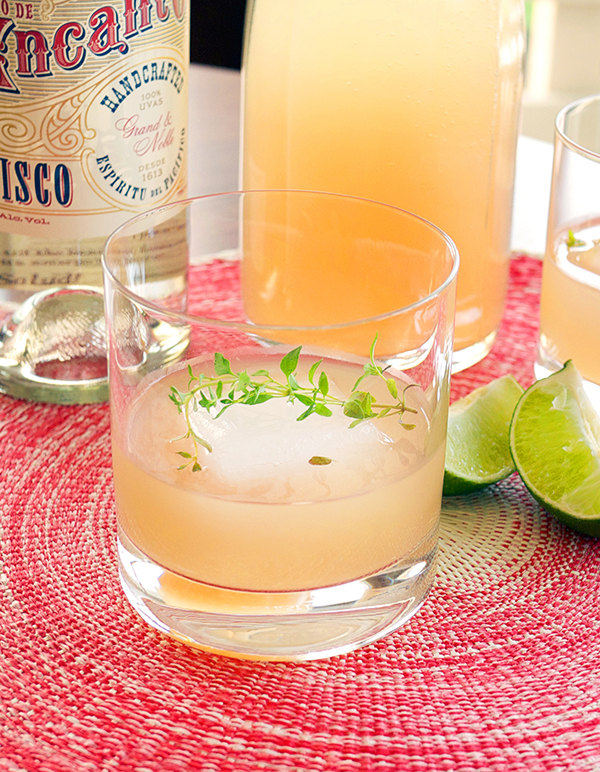 Pisco Brunch Cocktail with thyme and grapefruit // stirandstrain.com
