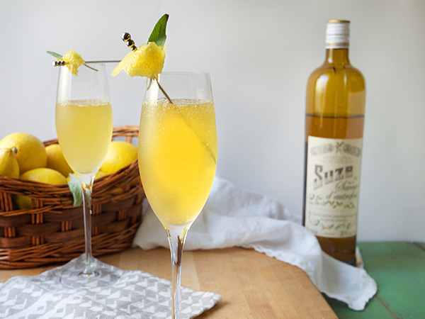Savory Lemon Suze Sparkling Cocktail // stirandstrain.com