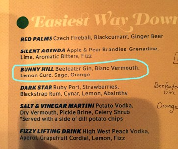 Menu Bunnyhill Cocktail at The Spare Room // stirandstrain.com
