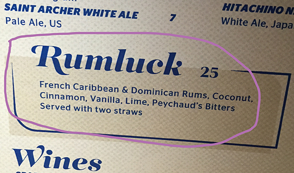 Menu Rumluck Cocktail at The Spare Room // stirandstrain.com