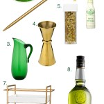 Green & Gold Bar Cart Styling