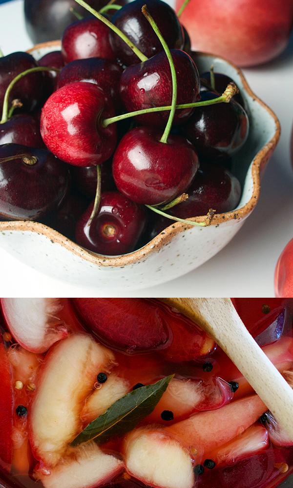 Régnié Beaujolais and Wine-Pickled Stone Fruit and Charcuterie Board Salad // stirandstrain.com
