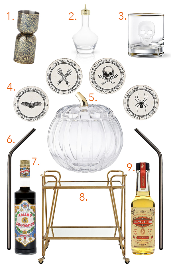 Halloween and Fall Bar Cart 2018 // stirandstrain.com