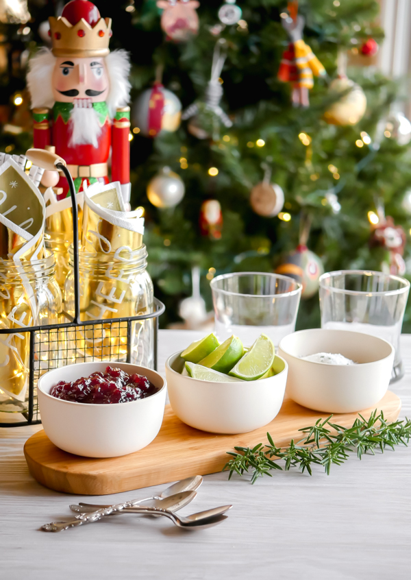 Cranberry Sauce Margaritas with Rosemary Sugar: A Holiday Party with Stages // stirandstrain.com