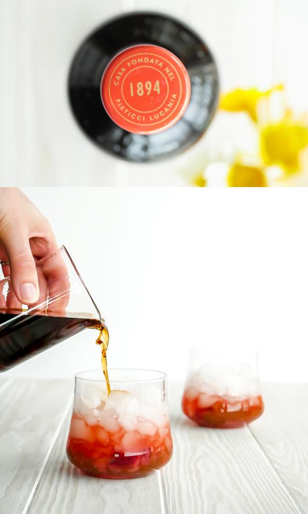 Amaro Lucano Strawberry-rhubarb Cobbler Cocktail // stirandstrain.com