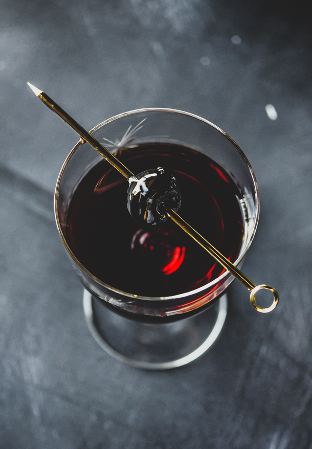 Black Christmas Bottled Cocktail // stirandstrain.com