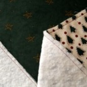 Sewn batting to wrong sides of fabric
