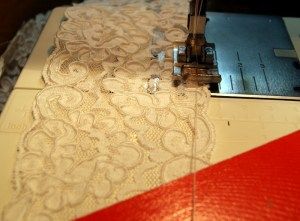 Showing how close to the edge of lace I sewed gathering thread