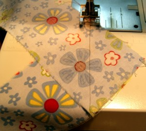 Stitching from top edge to opposite side edge