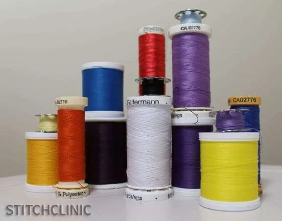 Various thread types in assorted colors