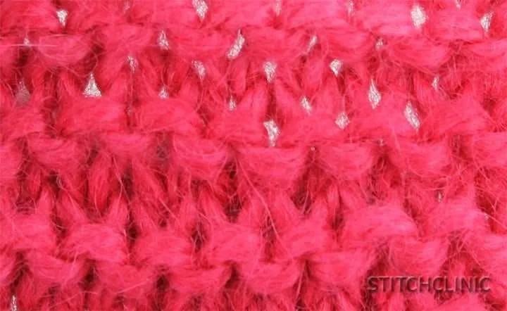 Garter Stitch in bright pink yarn