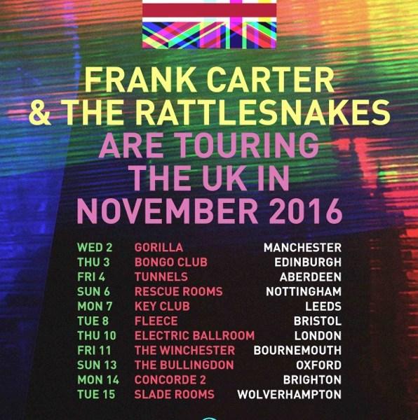 Frank Carter & The Rattlesnakes announce fall UK headlining tour