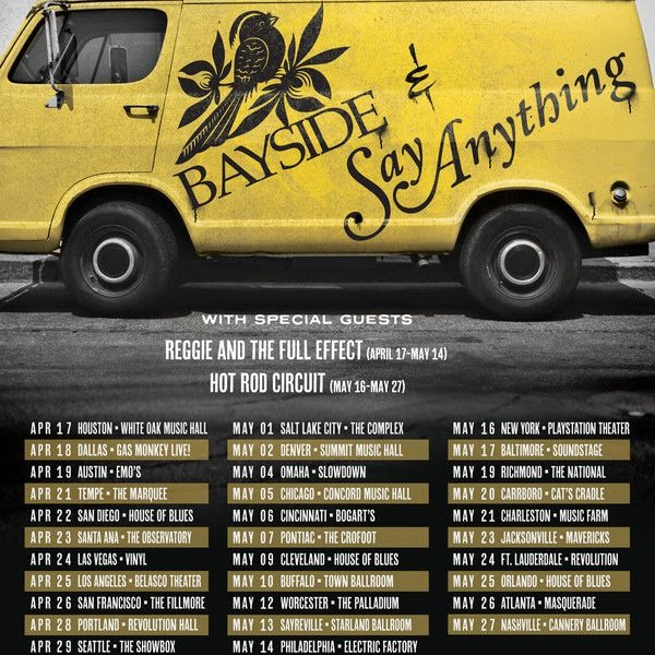 Bayside and Say Anything announce North American co-headlining tour