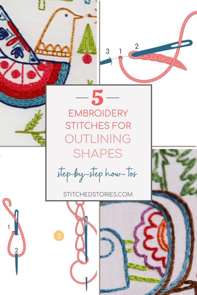 Embroidery Outline Stitch : embroidery, outline, stitch, Embroidery, Stitches, Outline, Shapes, Stitched, Stories