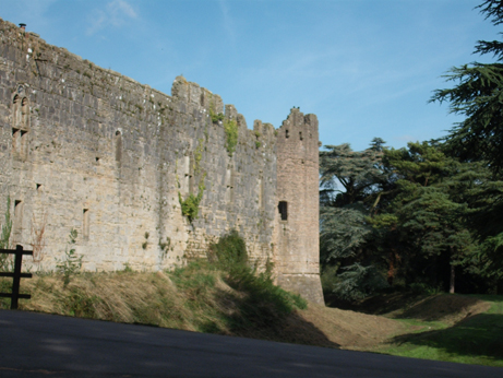 The castle walls in the evening sun