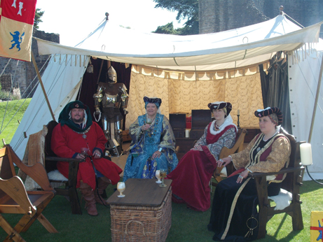 The Noble Tales group inside the castle with their beautiful tent and costumes