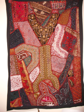Most of the hangine is made of beaded necklines from old garments turned into the most wonderful crazy patchwork