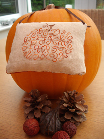 The cushion being modelled on a pumpkin!