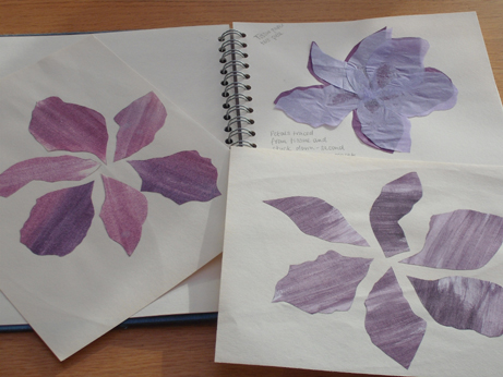 The two loose pieces are the flowers I created by painting transfer inks onto paper and cutting out petal shapes