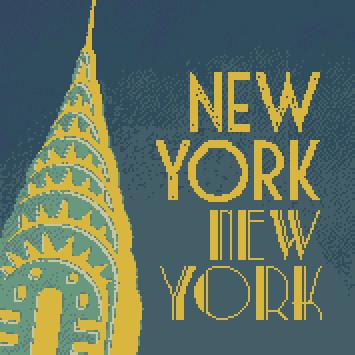 new york by night cross stitch kit image
