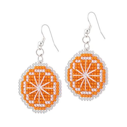 Orange Earrings Cross Stitch Kit | STITCHFINITY