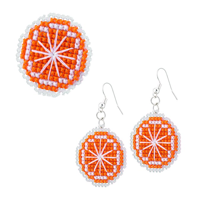 Orange Brooch and Earrings Cross Stitch Kit | STITCHFINITY