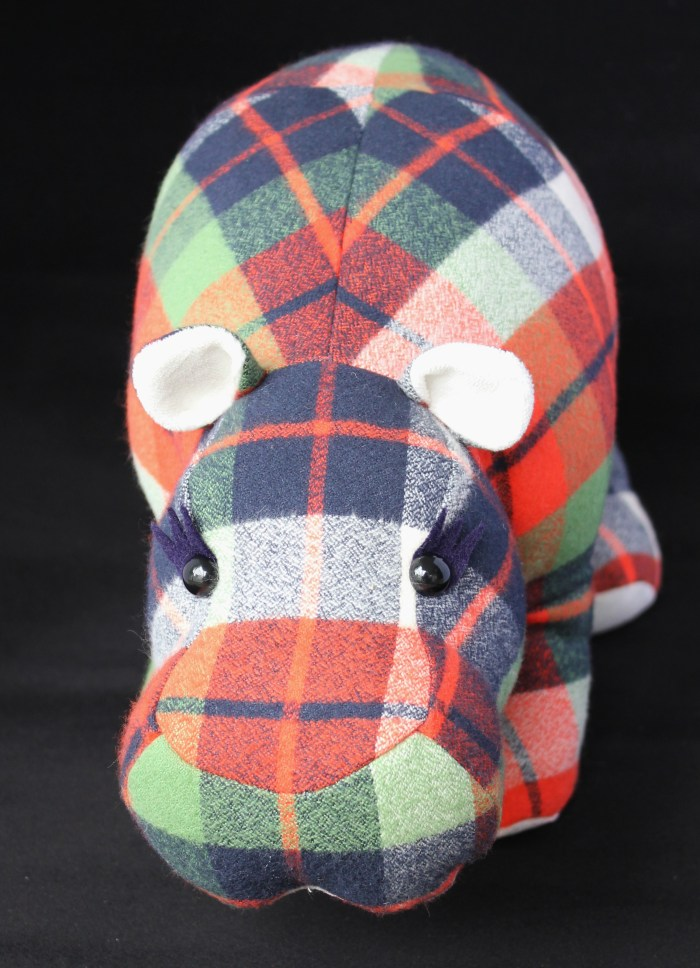 Custom plaid hippo, by Stitchified