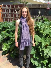 The 17 year old modeling my new scarf.