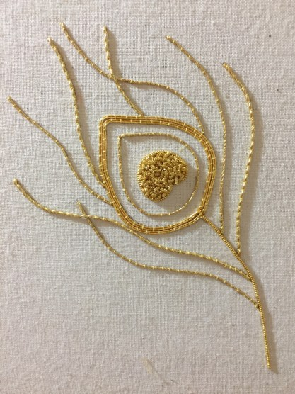 Introduction to Goldwork workshop by the RSN at the 2016 Alexandra Palace Knitting & Stitching Show