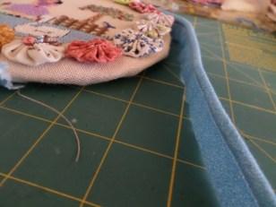 Putting piping on needlework circle