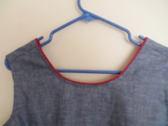 chambray top on hanger
