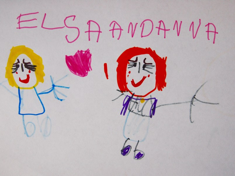 The 5 yo likes to hang out with me and draw pictures of her favorite people while I browse sewing blogs.