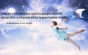 Στα μεγάλα όνειρα κράτα μικρό καλάθι άλλα λέει η λογική άλλα η φαντασία πλάθει.