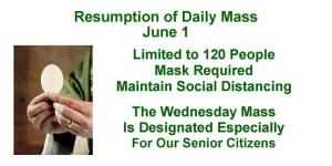 Weekday Mass Resumes June 1