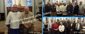 Picture of veterans honored at each service on Sunday, Nov 12 at St James Church