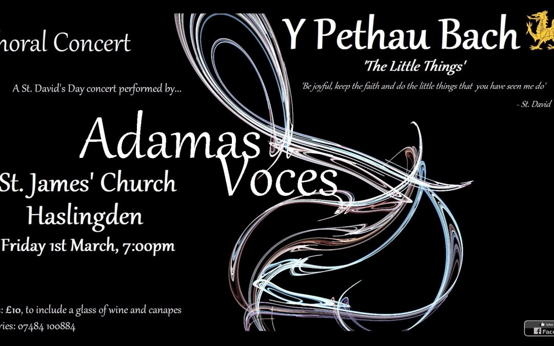 Adamas Voces – St David's Day Concert 7pm Friday 1st March
