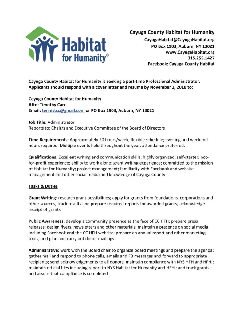 Thrift Store Manager Cover Letter Habitat For Humanity Of Auburn St James Episcopal Church