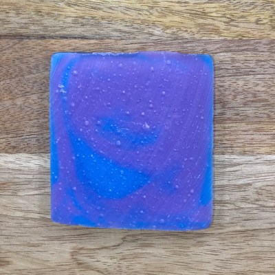 image of handmade soap, purple and blue
