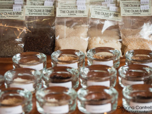 Salts and spices on display at The Olive & Vine shop on Lombard in St. Johns.