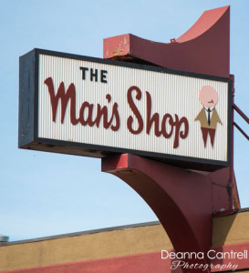 The Man's Shop iconic sign.