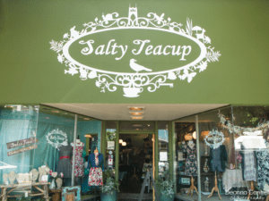 Entrance to Salty Teacup and painted sign