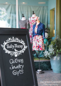 Salty Teacup entrance sign, clothing, jewelry and gifts