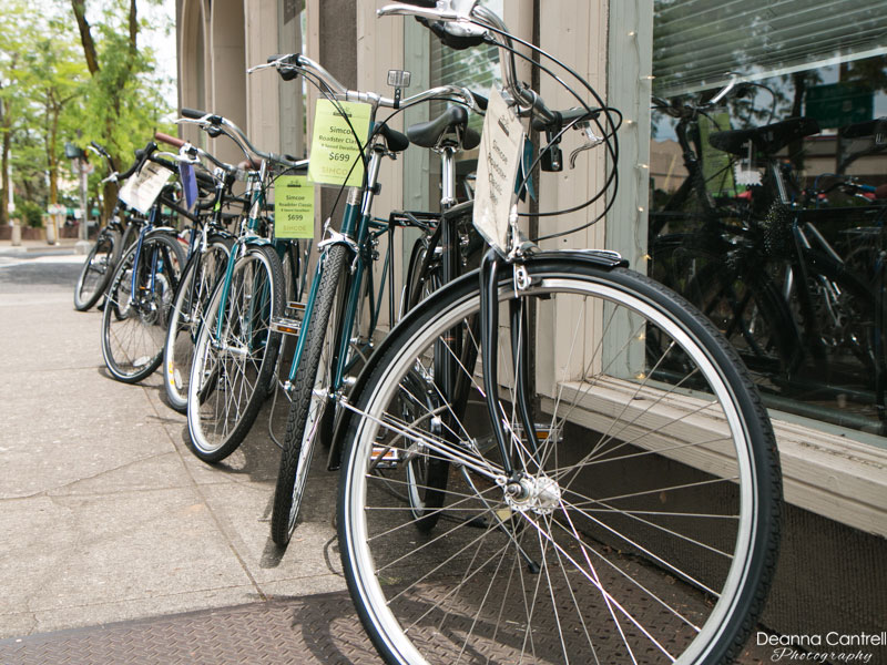 Bicycles for sales in front of Block Bikes PDX