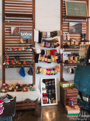 RoM Shoes merchandise, socks, shoes, handbags.