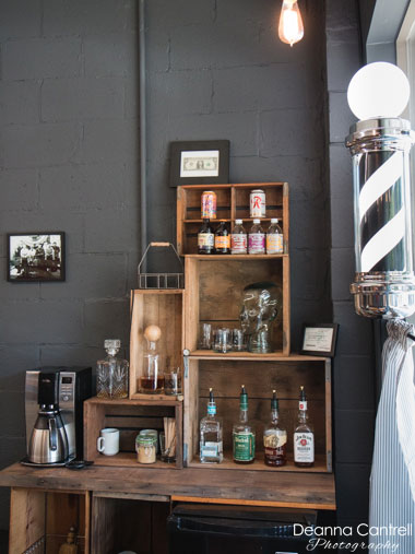 Coffee and bar at the North End Barber Co.